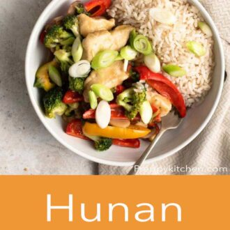 A pinterest graphic for Hunan chicken