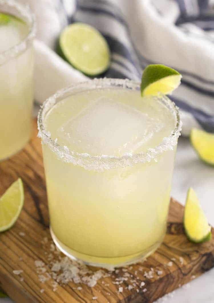 Margarita on the rocks with salt and a wedge of lime