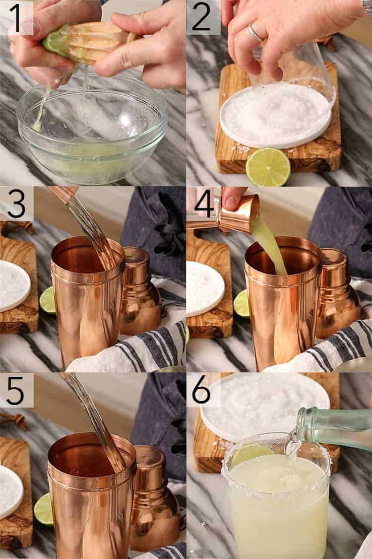 A photo grid showing the steps to make a margarita
