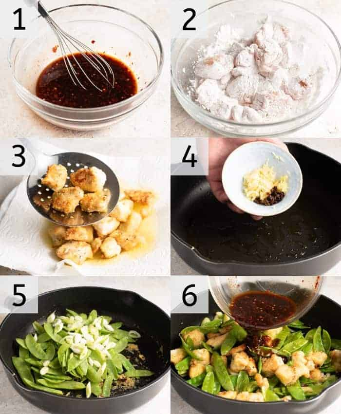 Step by step photos for how to make Schezuan chicken