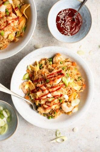 An overhead shot of shrimp fried rice