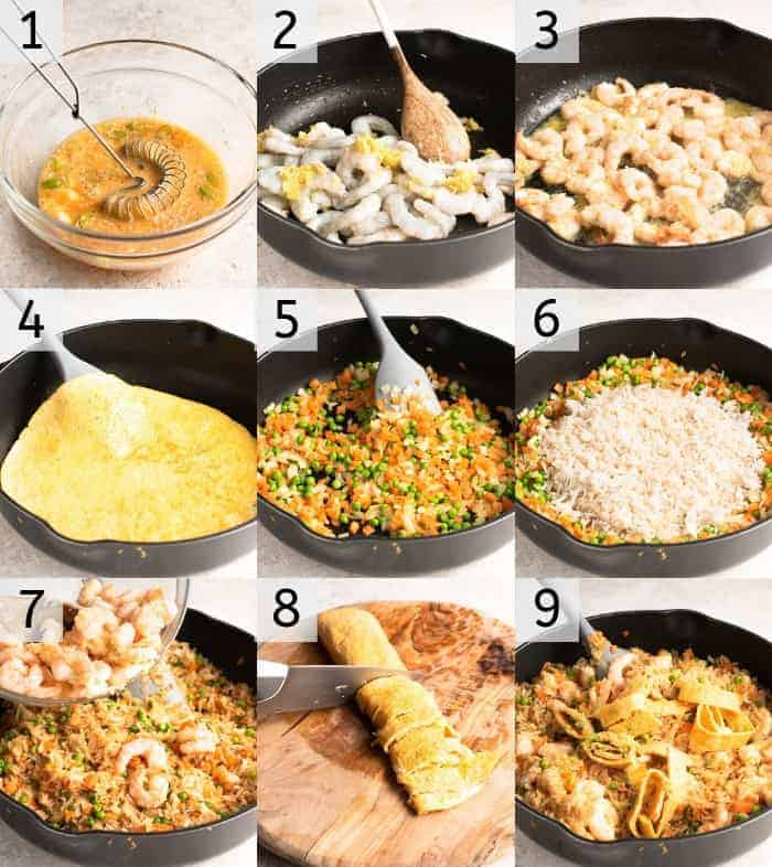 Step by step photos for how to make shrimp fried rice