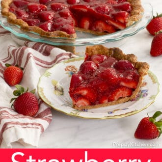 piece of strawberry pie on a plate