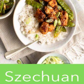 A pinterest graphic of Szechuan chicken