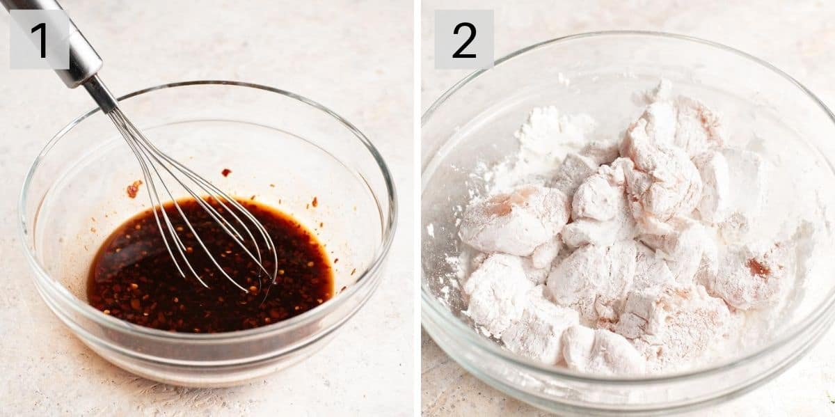 Two photos showing how to prepare Szechuan chicken