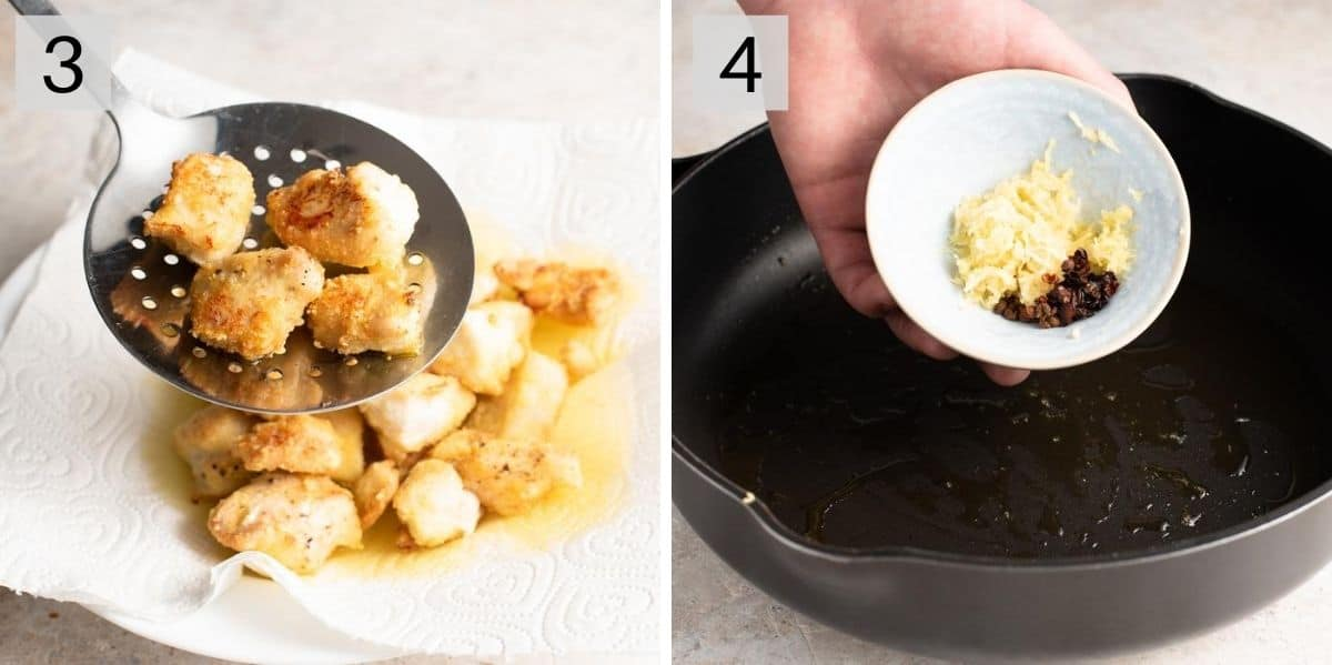 Two photos showing how to fry chicken and make a spicy sauce