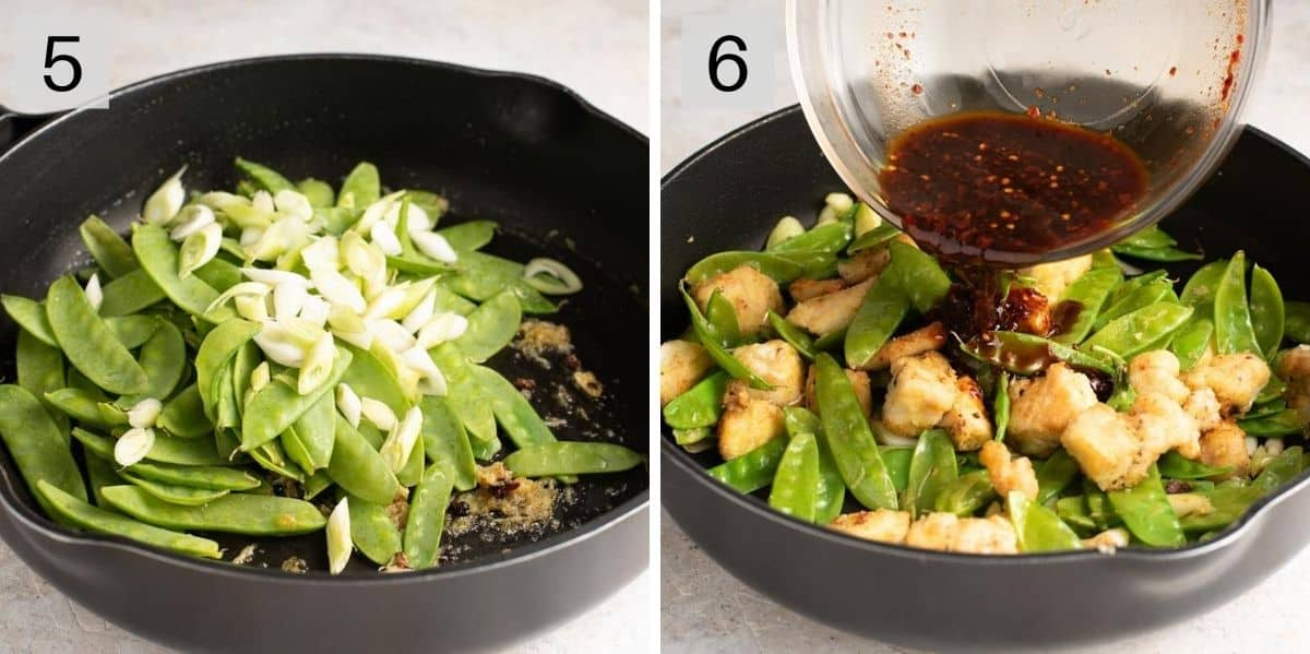 Two photos showing how to finish cooking Szechuan cooking