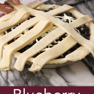 Blueberry pie with partial lattice top