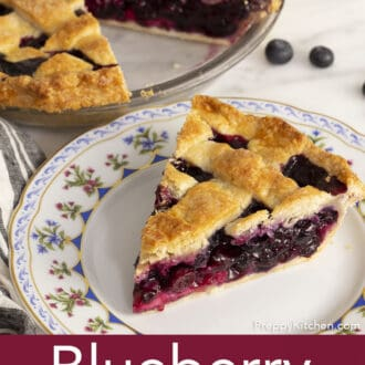piece of blueberry pie on a plate