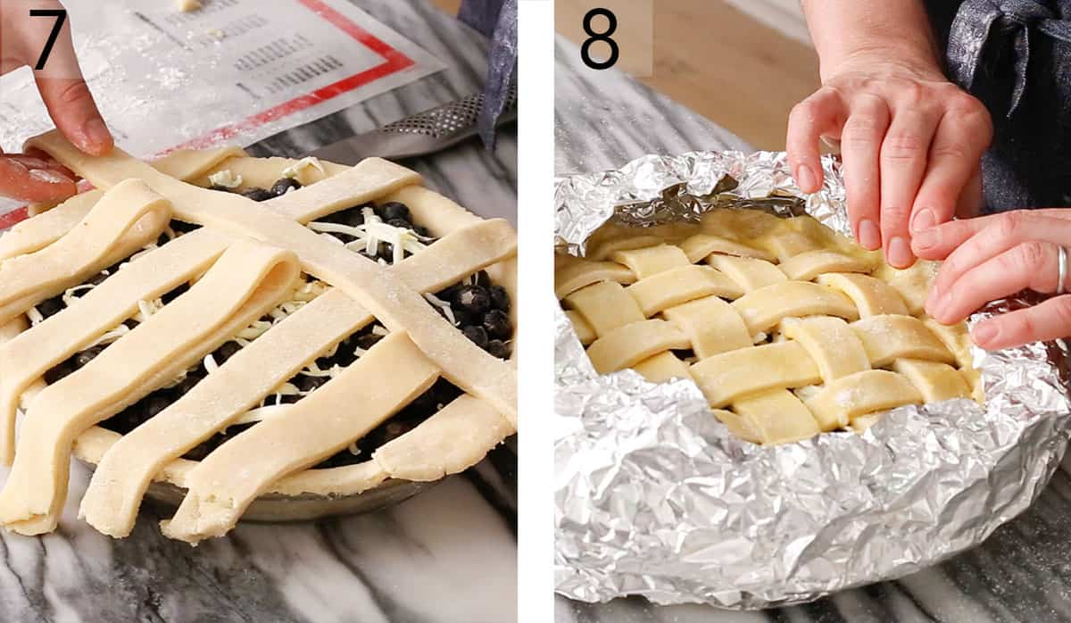 A pastry lattice for a blueberry Pie getting placed.