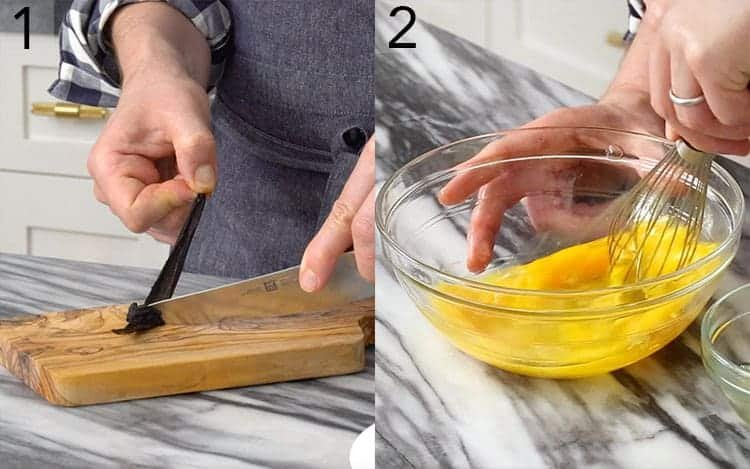 Two photos showing eggs being whisked and a vanilla bean scraped.