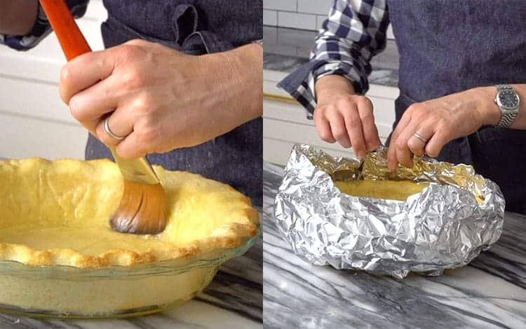 Two photos showing a pie crust getting brushed with egg wash and then tented with foil.