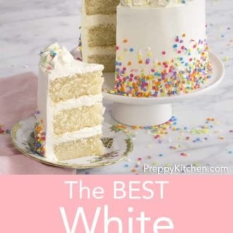 three layer white cake with buttercream frosting and sprinkles