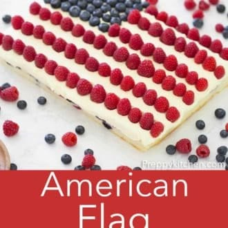 sheet cake topped with blueberries and raspberries patterned like an american flag