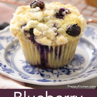 A Blueberry Muffin on a small plate.
