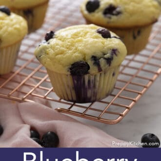 A Blueberry Muffin on a cooling rack.