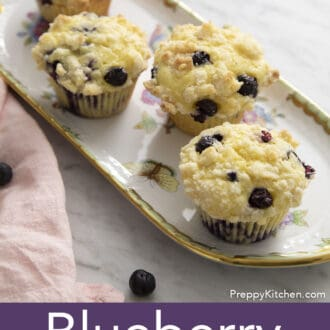 Blueberry Muffins topped with streusel.