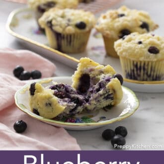 Blueberry Muffins next to blueberries.