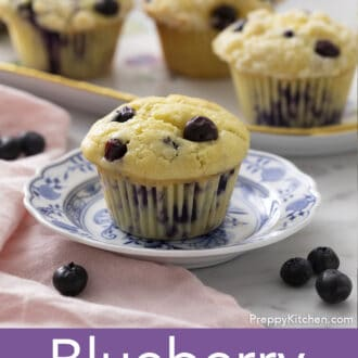 Blueberry Muffins on a marble table.