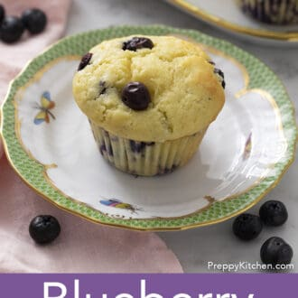 Blueberry Muffin on a green and white plate.