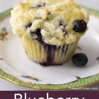 A closeup photo of a Blueberry Muffin.