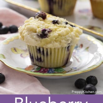 Blueberry muffin filled with berries.