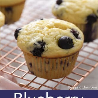 Blueberry Muffins on a wire rack.