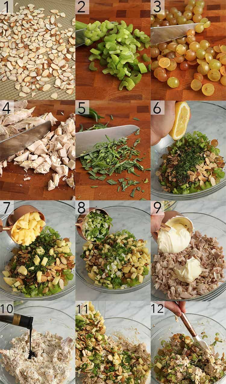 A photo frid showing the steps to make a chicken salad