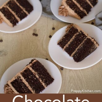 pieces of three layered chocolate cake with chocolate frosting