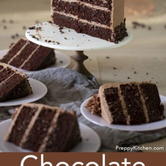 three layered chocolate cake with chocolate frosting