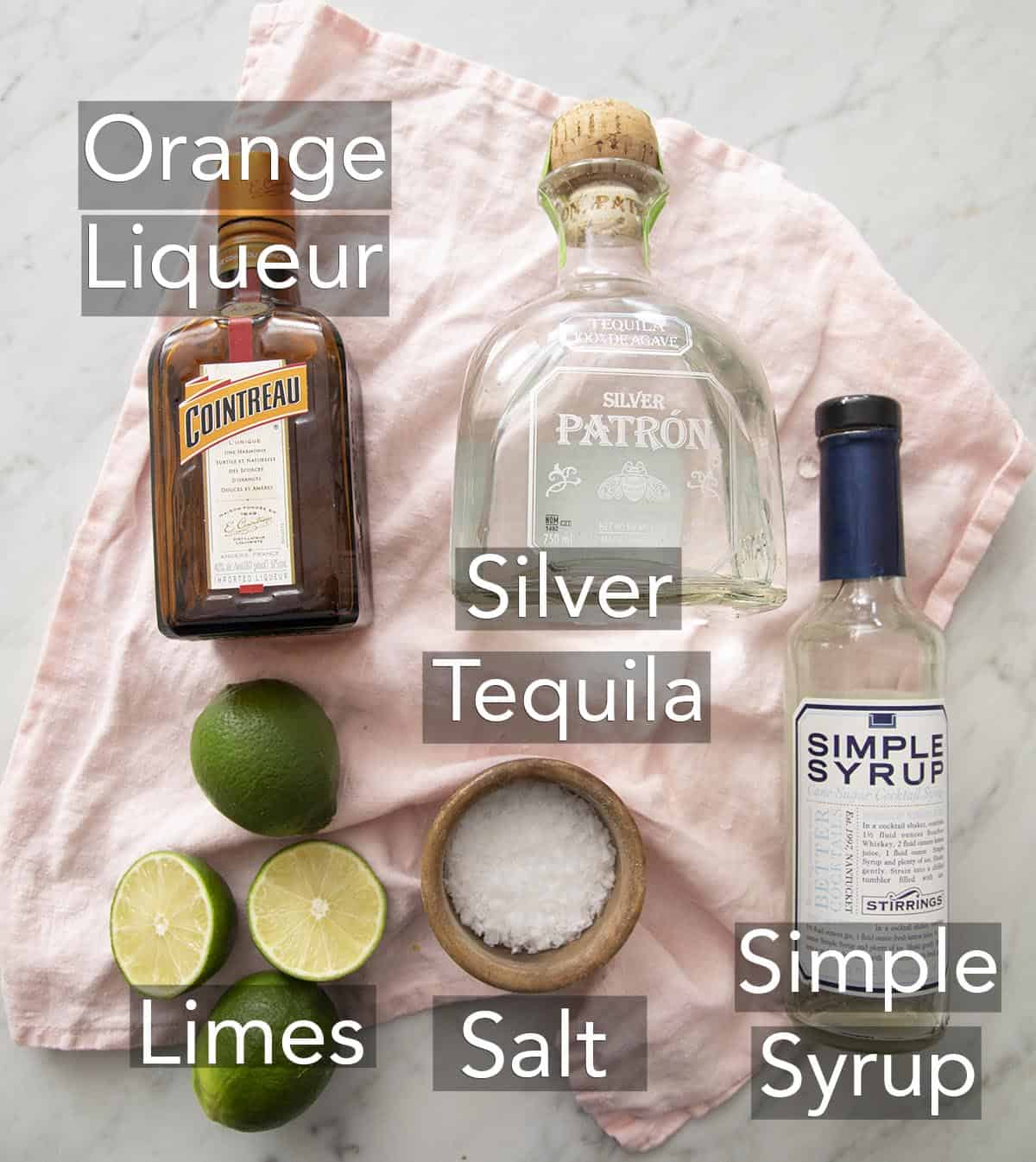 Ingredients for making a margarita on a counter.