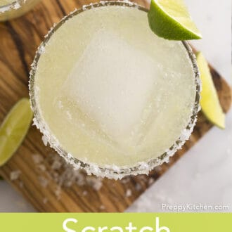 Margarita in a tumbler garnished with lime