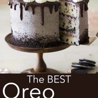 three layer oreo cake with oreo frosting on a cake stand