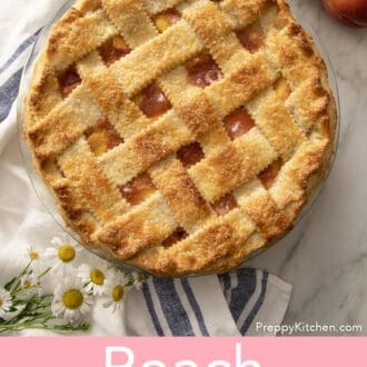 A peach pie with a lattice butter crust.