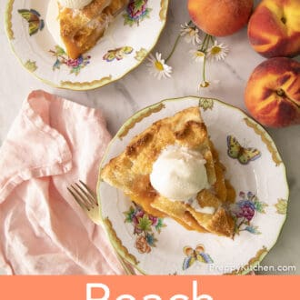 Peach pie pieces topped with ice cream on plates.