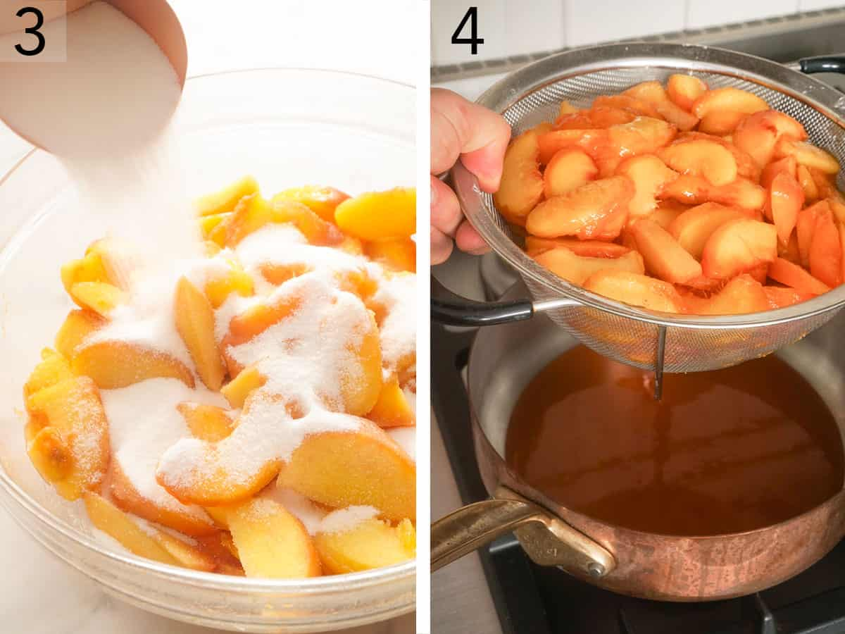 Peaches and sugar heating up in a copper pan.