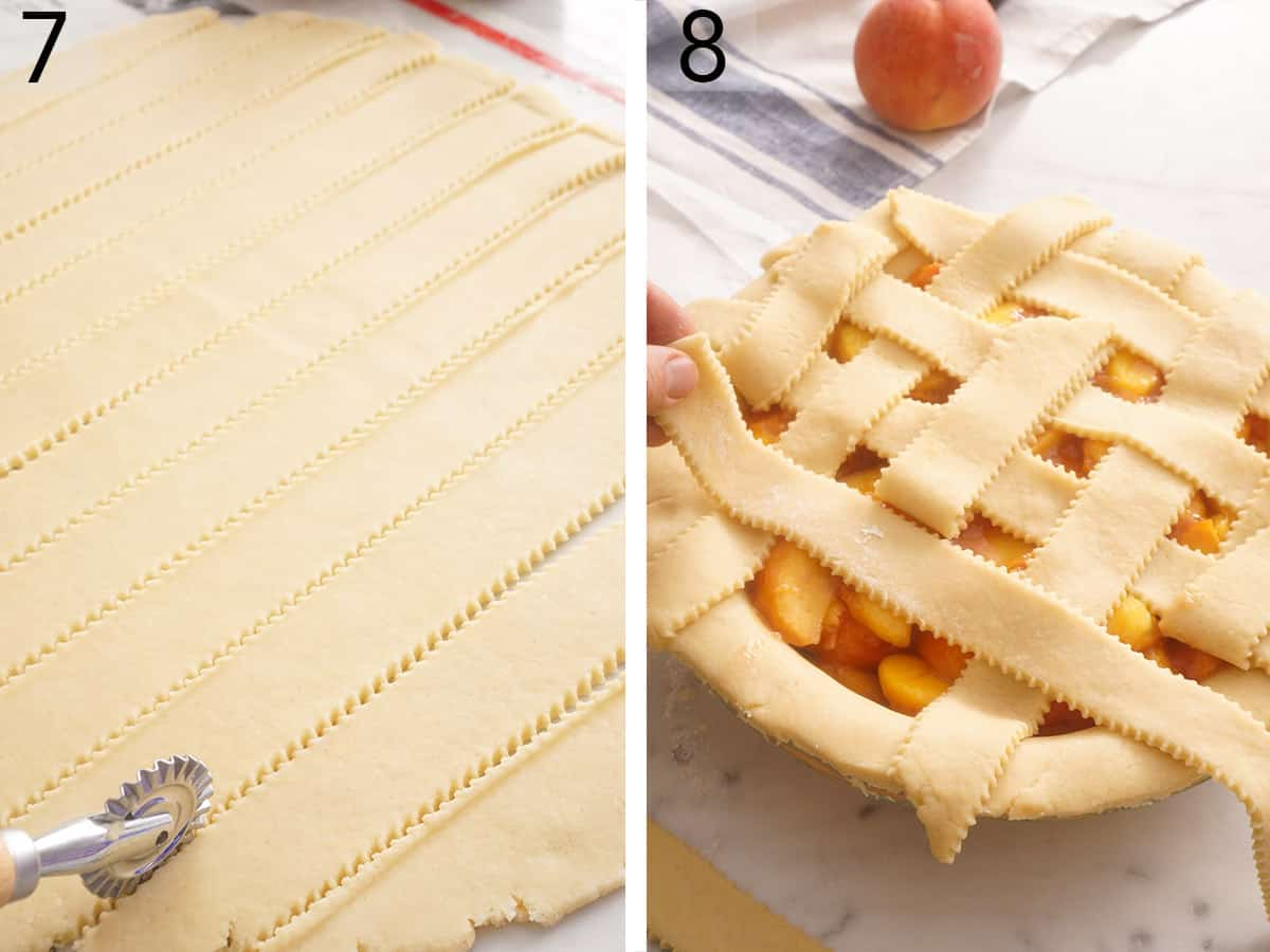 A peach pie getting decorated with a pastry lattice.