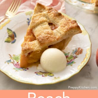 A piece of peach pie with a scoop of ice cream next to it.