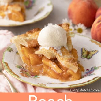 A piece of peach pie topped with ice cream