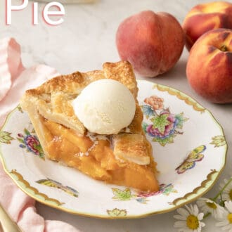 Peach pie and vanilla ice cream on a plate.