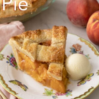 A scoop of vanilla ice cream on a plate with peach pie.