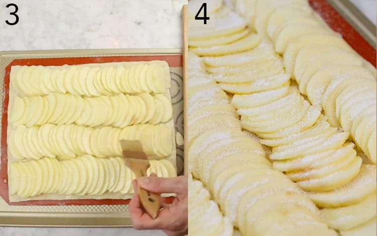 An apple tart being brushed with butter and sprinkled with sugar.
