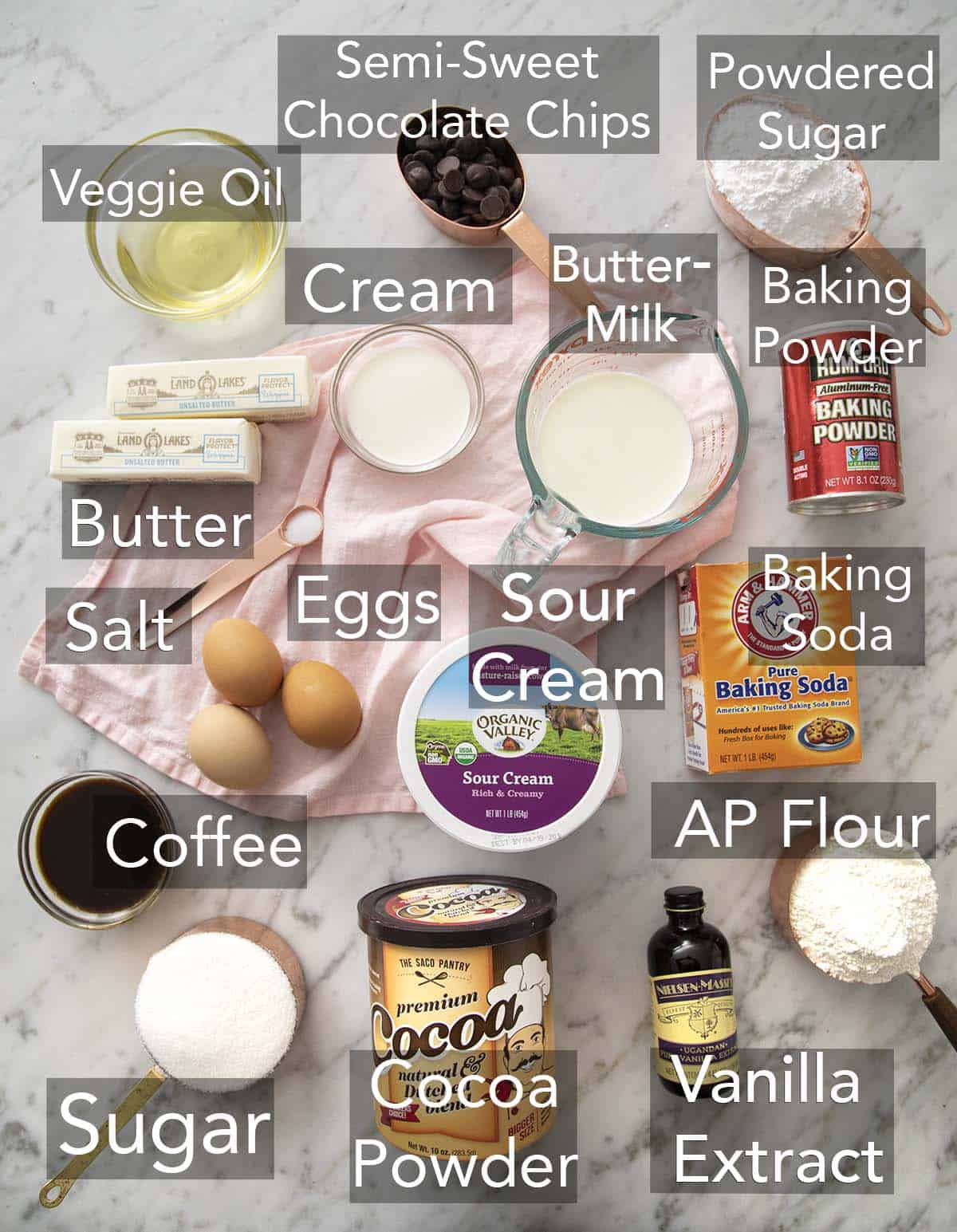 Ingredients needed for a chocolate cake laid out on a counter.