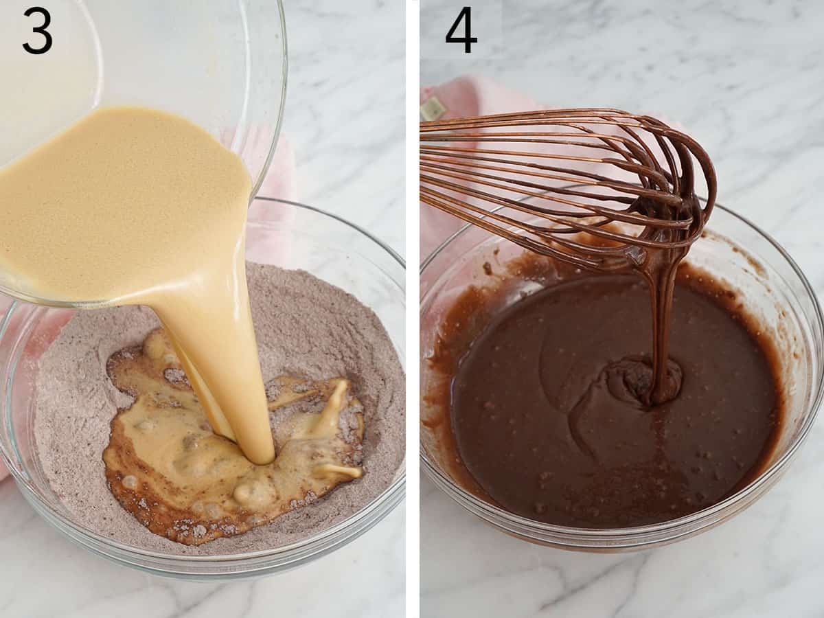 A wet mixture pouring into a bowl with the dry ingredients to make chocolate cake batter.