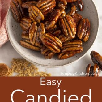 candied pecans in a gray bowl