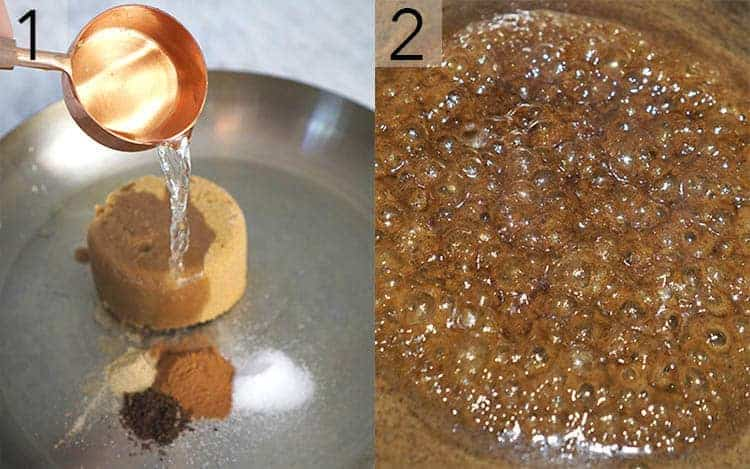 Brown sugar and spices in a pan before and after being heated