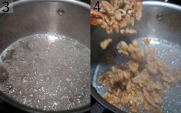 walnuts going intogar a pot of boiling su