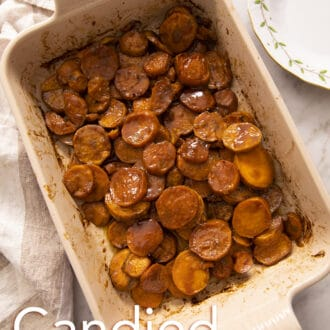 Candied Yams in a ceramic baking dish.