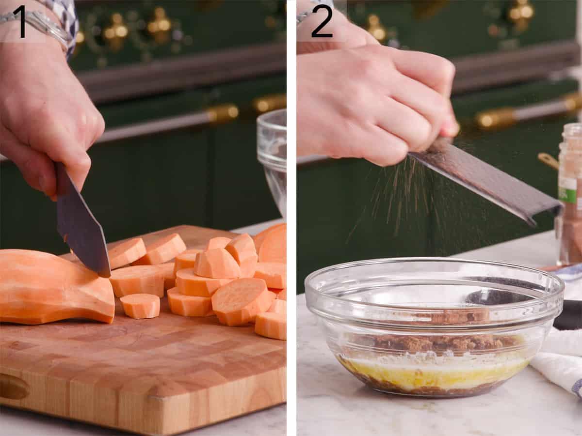 Sweet potatoes getting cut on a wooden chopping block.