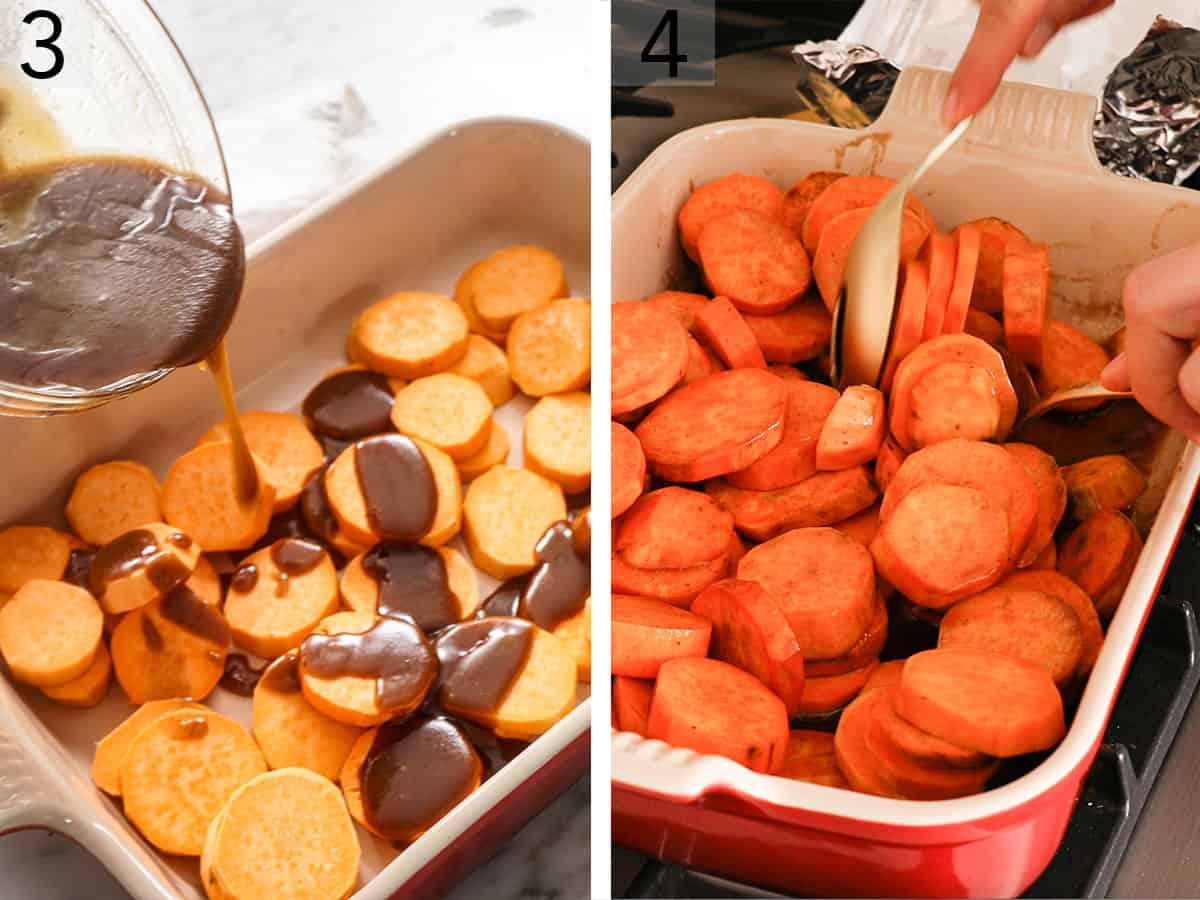 Sweet potato pieces getting drizzled with a brown sugar butter mixture to make candied yams.